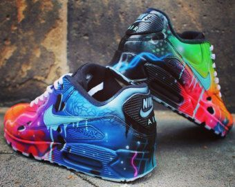 shop best sellers promo codes sneakers for cheap Custom Nike Air Max 90 Funky Galaxy Colours Graffiti Airbrush ...