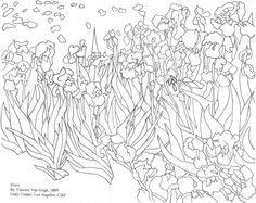 Van Gogh S Irises Coloring Page In 2020 Van Gogh Irises Van