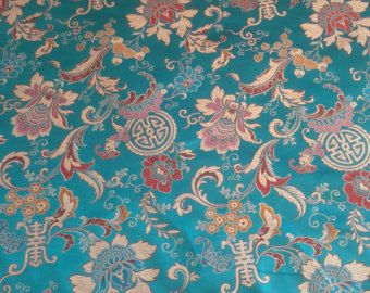 Stunning Brocade Chinese Oriental Dragon Silky Satin Dress Fabric Material 44/""