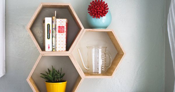 WALLS - Floating shelves in interesting groupings or shapes like these honeycomb