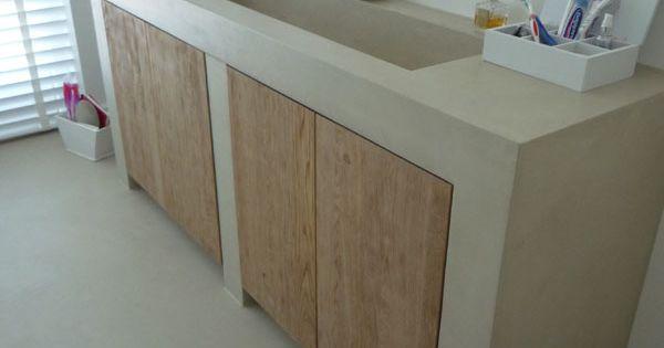 Mooi badkamermeubel beton cir ebbenhout pinterest badkamer badkamermeubel en badkamers - Amenager badkamer ...