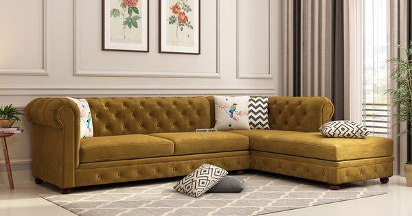 Buy Henry L Shape Right Aligned Corner Sofa Velvet Chestnut Brown Online In India Wooden Street In 2020 Living Room Sofa Design Corner Sofa Design Modern Sofa Living Room