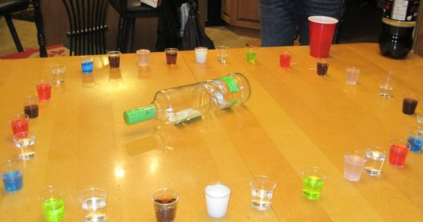 Shot Roulette. Not all the shots are alcoholic, spin the bottle and