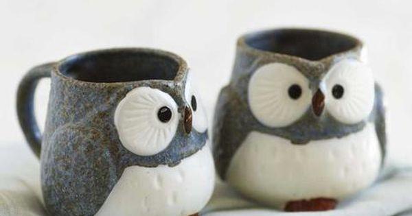 Owl Mugs and Tea Set. Set of two ceramic mugs. Cute wedding