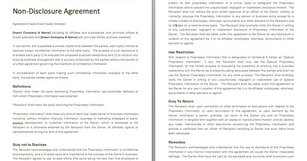 Non Disclosure Agreement - Use this to protect yourself when - non disclosure agreement