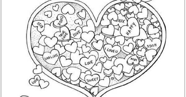 Valentine 39 s day heart candy coloring page adult coloring for Candy heart coloring pages