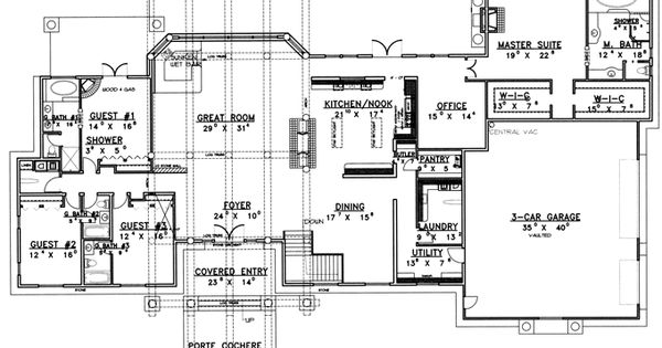 Hhhhh for separate guest wing each w their own bath 1 ba for House plans with separate kitchen