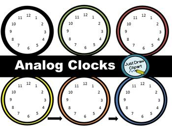 Analog Clocks Clip Art Clip Art Learn To Tell Time Free