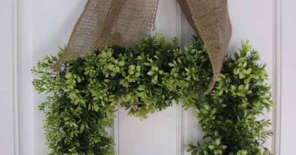 Boxwood Burlap Wreath