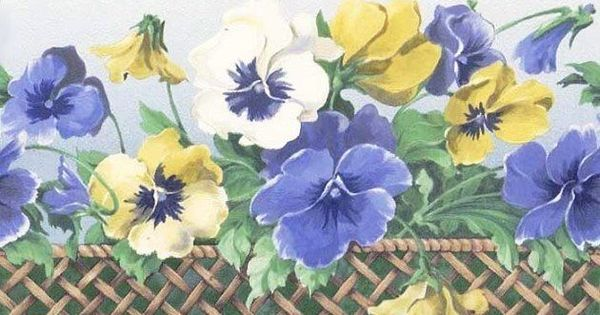 Pansy Flower Lattice Trim Wallpaper Border Brewsterhomefashions Pansies Flowers Wallpaper Border Pansies