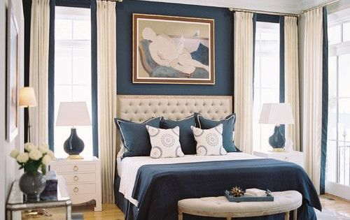 Navy Blue And Cream Are Delicious In This Chic Bedroom