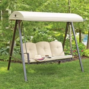 Hampton Bay Cunningham 3 Person Metal Outdoor Swing With Canopy Gss00132d The Home Depot Outdoor Patio Swing Patio Swing Outdoor Swing With Canopy