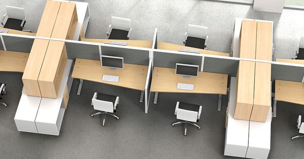 Seven workstations with zo storage decoraci n de for Decoracion de oficinas ejecutivas
