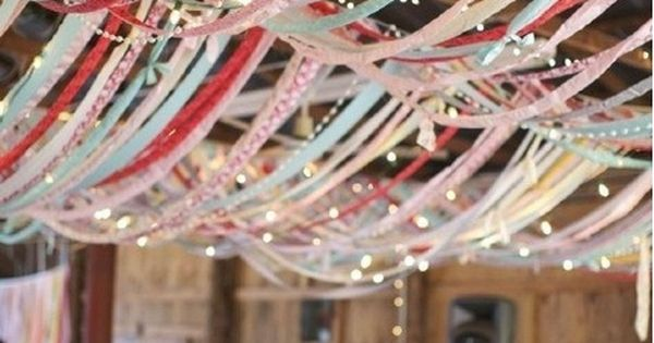 hang ribbon from ceiling for weddings, parties, or any event for a