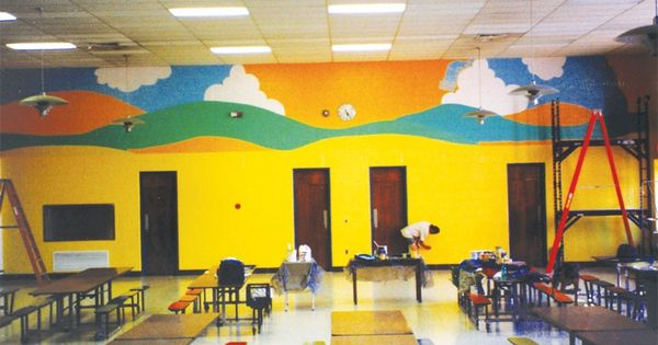Bright cheerful colors and a mural that conjures up a for A perfect day mural