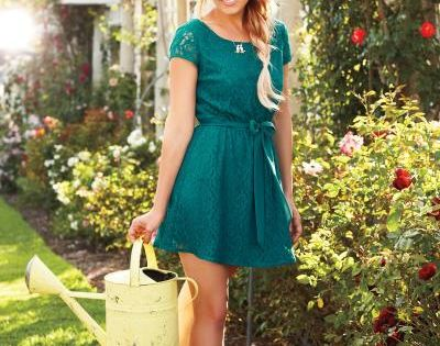 emerald green lace dress * LC Lauren Conrad fall collection fashion