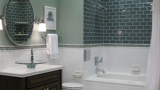 bathroom with subway tub surround and glass vessel sinkTile from the Tileshop,