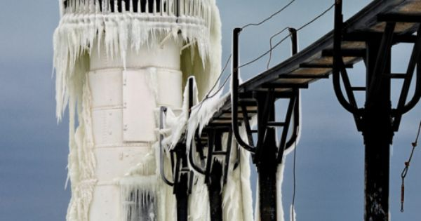 "See a frozen lighthouse. This one is ""Frozen Light"" St. Joseph Northpier"