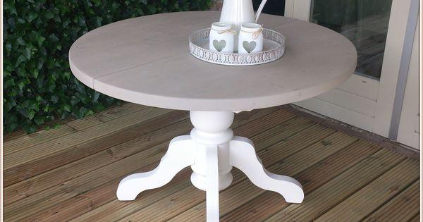 Ronde eetkamer tafel uitschuifbaar rm stijl en erg leuk in een landelijk brocante inrichting - Tafel een kribbe stijl industriel ...