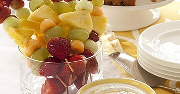 Easter Brunch Recipes: Fruit Kebabs with Honey-Yogurt Dipping Sauce