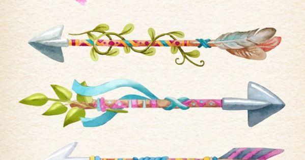 Flechas Coloridas Pintadas A Mano