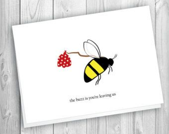 Bee Goodbye Card Farewell Cards Office Cards Goodbye Cards