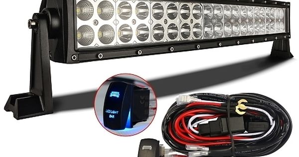 Mictuning 22 120w Curved Cree Led Light Bar Combo W Laser Blue Rocker Switch Wiring Harness Emergency Cree Led Light Bar Curved Led Light Bar Cheap Led Lights
