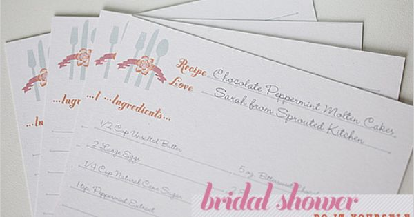 free bridal shower recipe card template! Love this! Send it out with