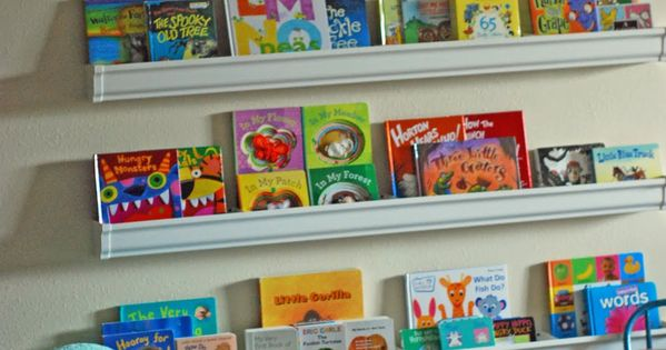 Rain Gutter Bookshelves- this could be super cute in a future kids