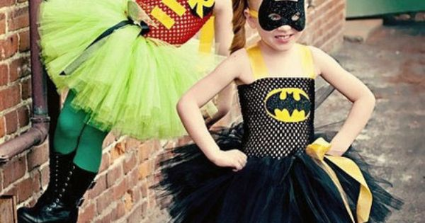 I would definitely put my girls in these Halloween costumes! Batman girls