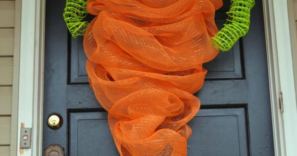 deco mesh carrot- front door decor
