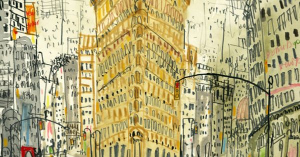 Pretty illustration by Clare Caulfield of Flatiron Building, New York City.
