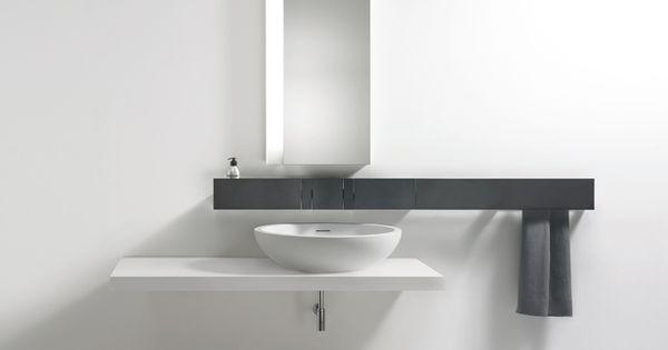 Reforma ba o minimalista en blanco y negro con lavabo - Espejo marco blanco ...