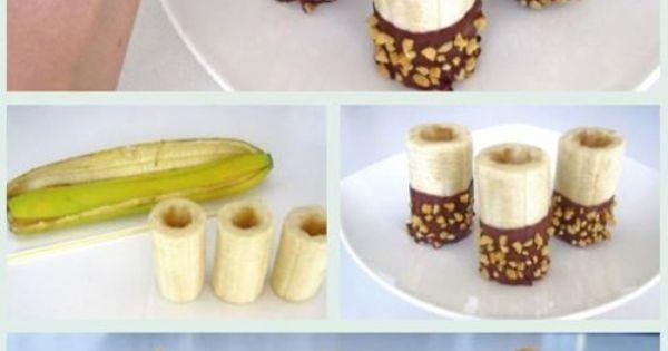 Cute, healthy dessert: Peanut butter banana bites, yum!