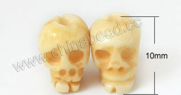 Carved Bone Skull Beads Ivory Skull Approx 9x10mm Hole Approx 2mm Sold By Pcs Beaded Skull Carving Bone Carving