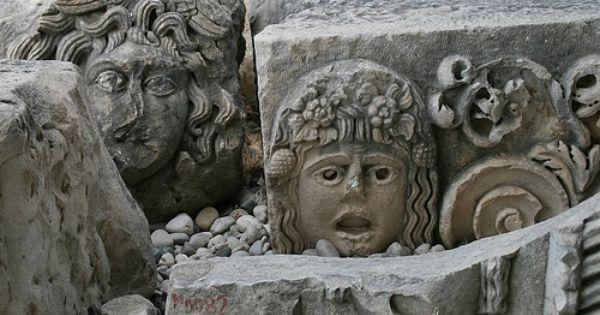 Mysterious face sculptures of myra ancient theater masks