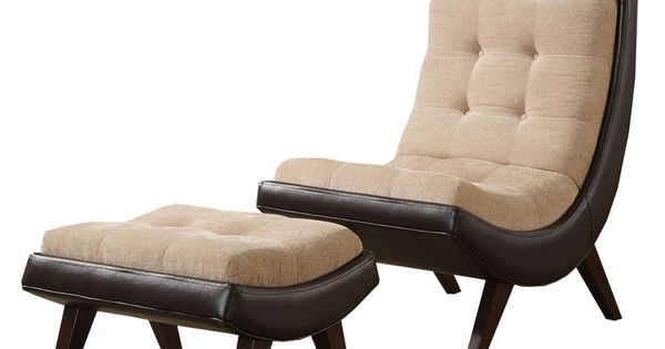 Albury Two-tone Peat Velvet Faux Leather Chair with Ottoman