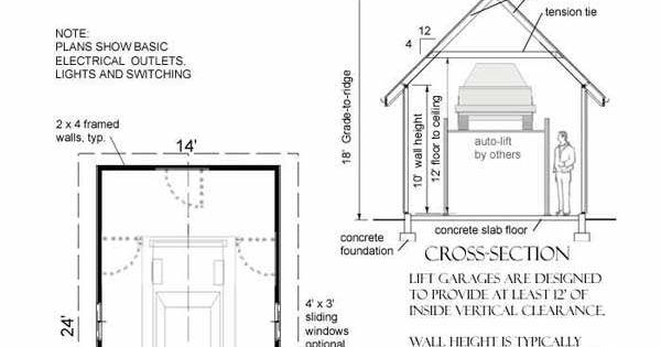 1 car lift garage plan no 336 l by behm design 14 39 x 24 for Car lift plans