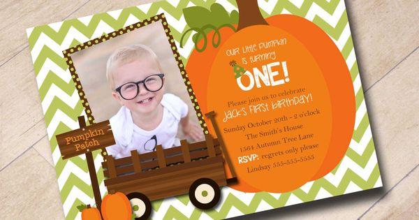 Our Little Pumpkin First Birthday Invitation Fall Autumn Pumpkin