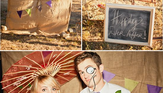 outdoor photo booth ideas with burlap background