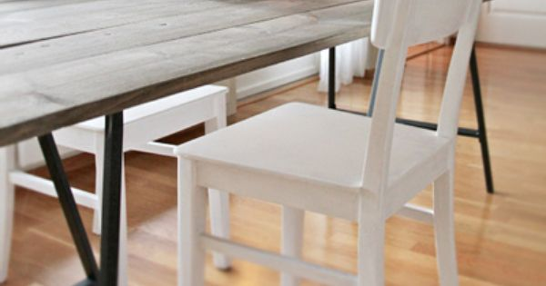 Really nice rustic table! DIY table using boards and ikea Vika Lerberg