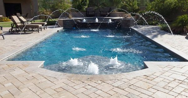 Outdoor living spaces boulder creek pools and spas - I Like The Pool Shape And The Water Fountains Are Fun