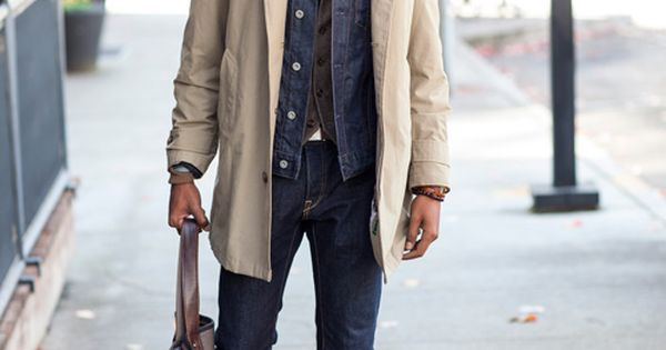 trench coat + denim | Man Style