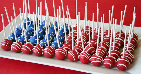Patriotic Cake Pops Displayed As A Flag