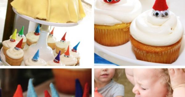 Snow White Birthday Party Ideas: The Snow White & Seven Dwarf Cupcakes.