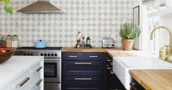 Navy Blue Kitchen Cabinets With Butcher Block Countertops : Navy cabinets, butcher block and marble counters, and farmhouse sink For the Home Pinterest ...
