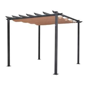 English Garden 9 Ft 10 In X 7 Ft 8 In Gunmetal Grey Aluminum Free Standing Retractable Canopy Pergola Retractable Canopy Rustic Pergola
