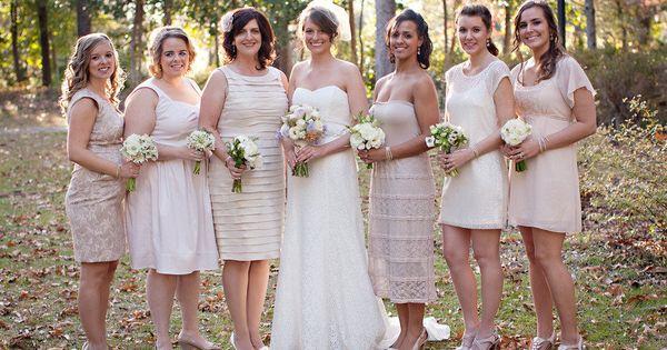 different dresses+different bouquets, same color scheme!
