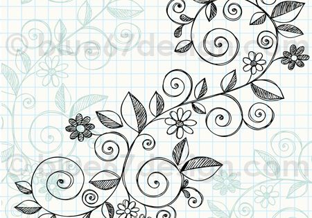 Hand-Drawn Sketchy Notebook Doodle Vine with Flowers Vector Illustration by blue67 by