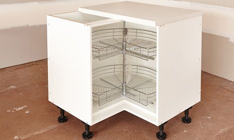 Finish The Cabinet By Installing Basket Ware Corner Kitchen Cabinet Corner Cabinet Hinges Cabinet Furniture